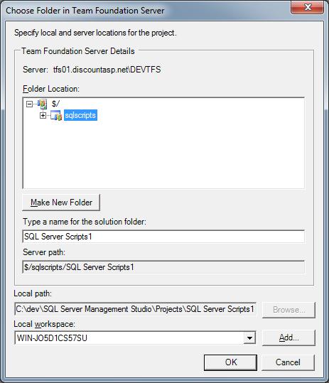 Using Team Foundation Server 2010 Source Control from SQL Server