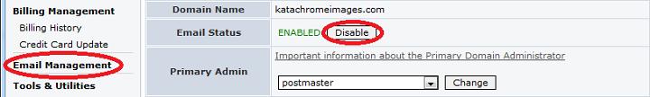 DisableEmail