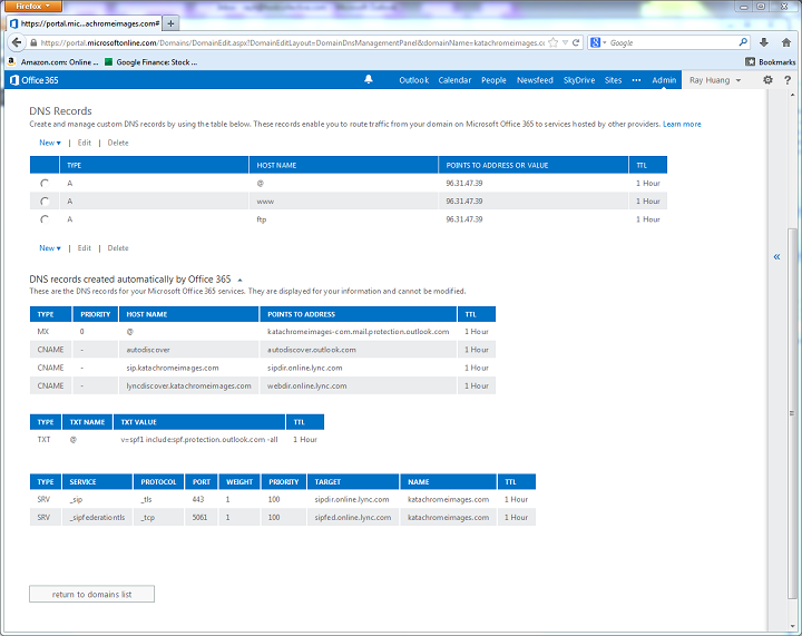 Office365DNSRecords